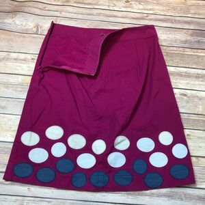Boden dark magenta skirt with polka dots